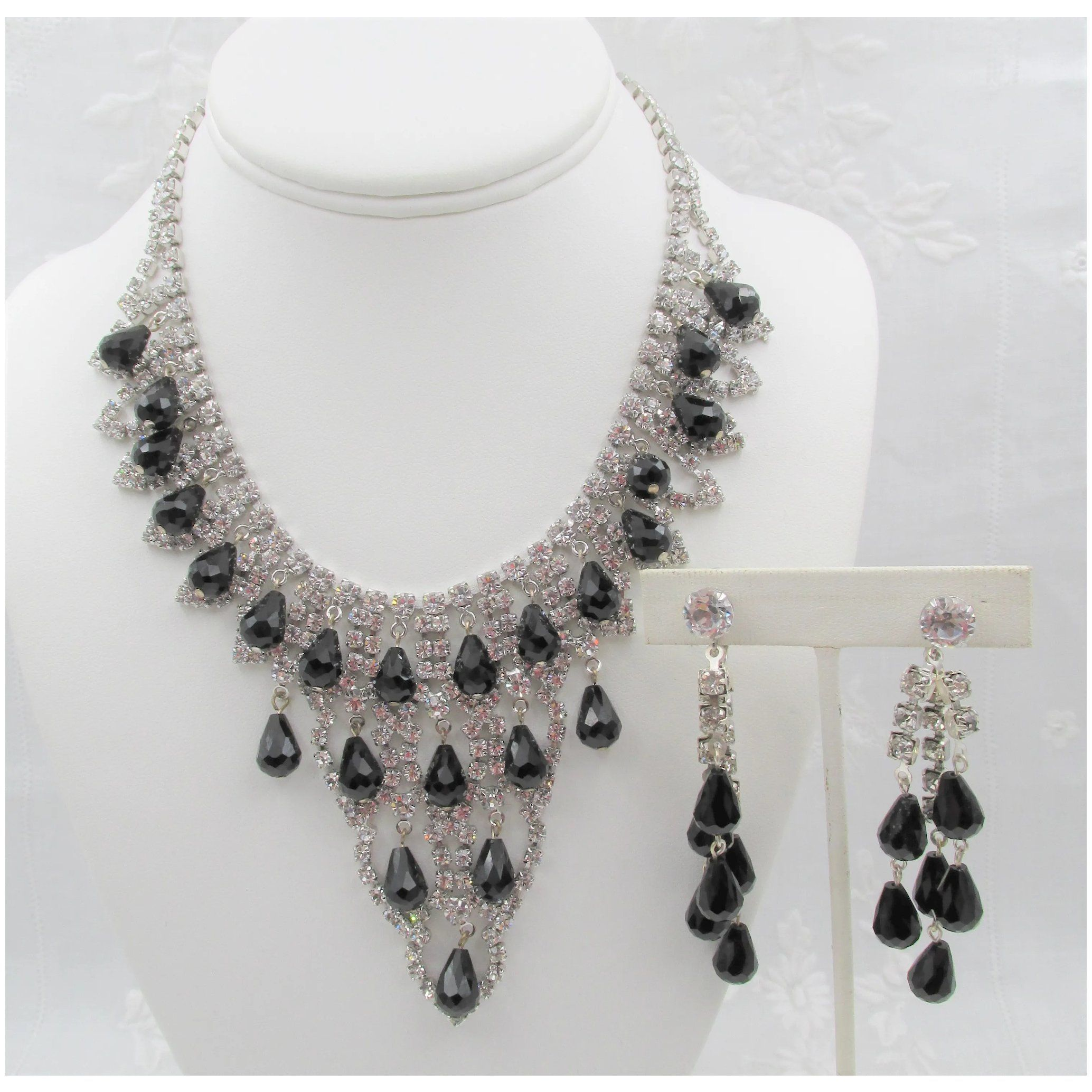 Kramer of New York Rhinestone Necklace Earrings Set