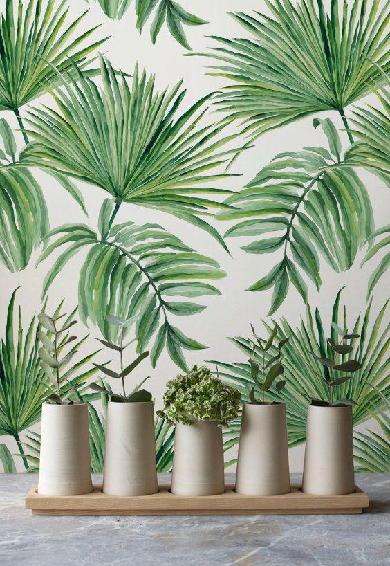 Bladeren Van De Exotische Hand Getekend Patroon Verwisselbare Behang,  Exotische Behang, Groene Bladeren Tijdelijke