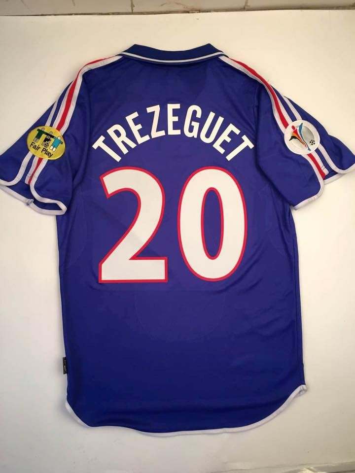 Men\'s UEFA Euro 2000 France David Trezeguet Match Soccer Jersey ...