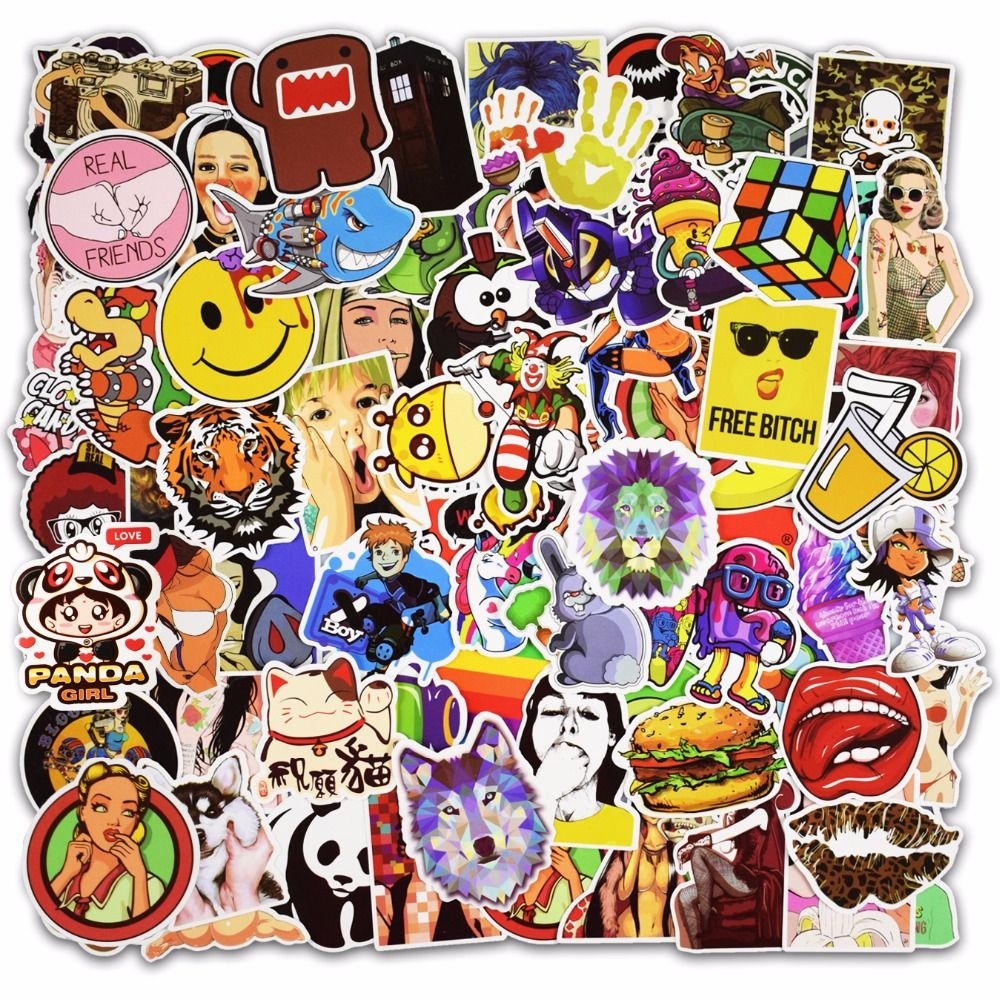 Hot Sale 100 Pcs Mixed Stickers For Luggage Laptop Decal Toys Bike Car Motorcycle Phone Snowboard Funny Doodle Cool Diy Diy Stickers Classic Toys Funny Doodles [ 1000 x 1000 Pixel ]