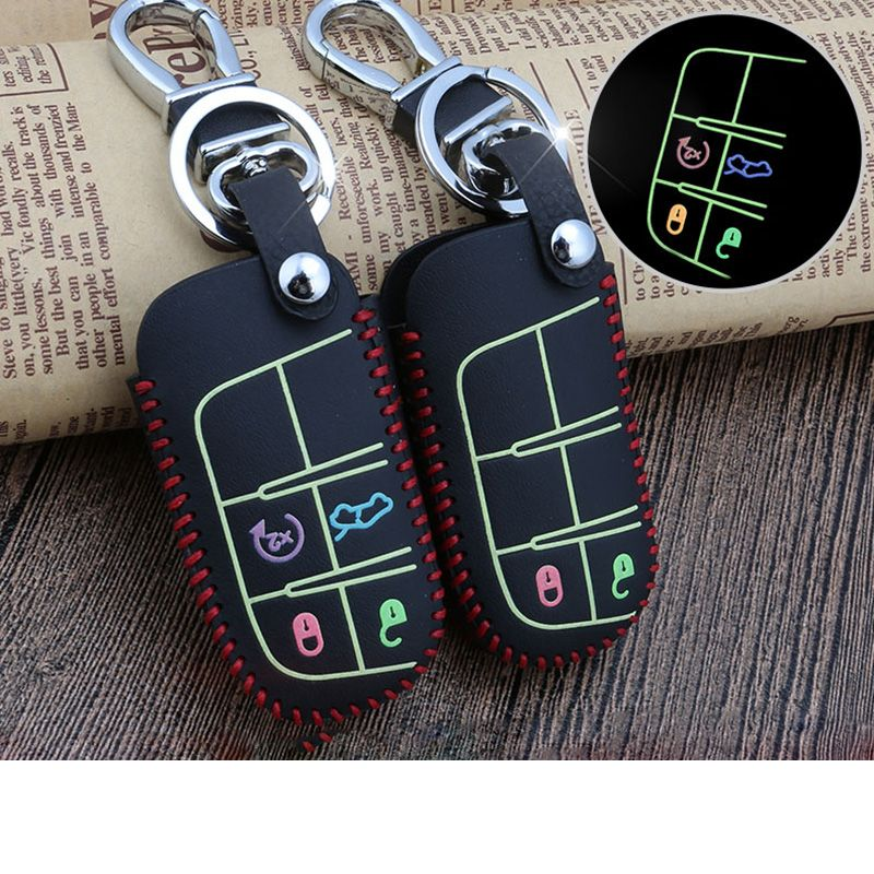 Real Leather Car Key Cover Luminous Key Case Car Accessories For Jeep Renegade Wrangler Jeep Compass Accessories Jeep Renegade Jeep Grand Cherokee Accessories