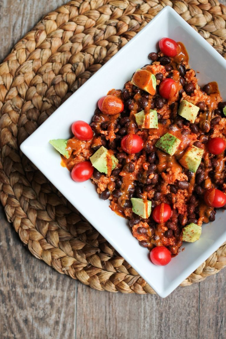 Rice Black Bean And Avocado Bowl With Sweet Chili Mustard Sauce