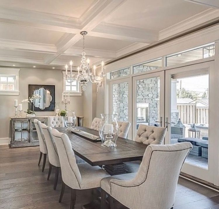 23 Dining Room Ceiling Designs Decorating Ideas: Coffered Ceiling, French Doors, Chandelier, Large Table