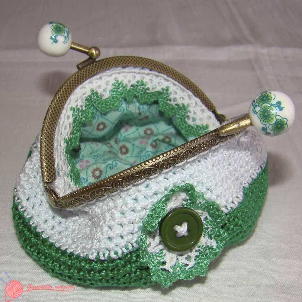 Monederos boquilla metálica (1) verde y rosa ganchillo | Monederos ...