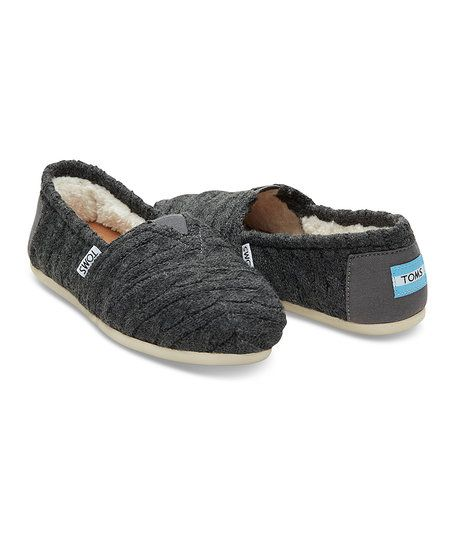 TOMS Dark Gray Cable Knit Shearling Classics - Women | zulily