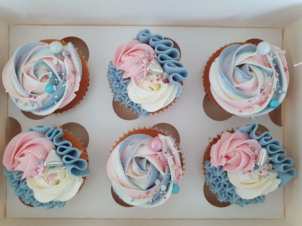 Babyshower Cupcakes Gender Reveal Cupcakes Gender Reveal Dessert Gender Reveal Cake