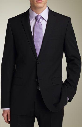 Menswear Black Suit Light Gray Or White Shirt Lavender