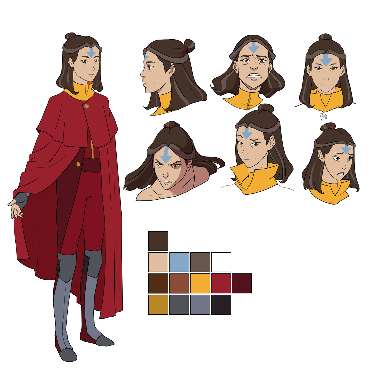 An adult Jinora character sheet! I haven't figured her out ...