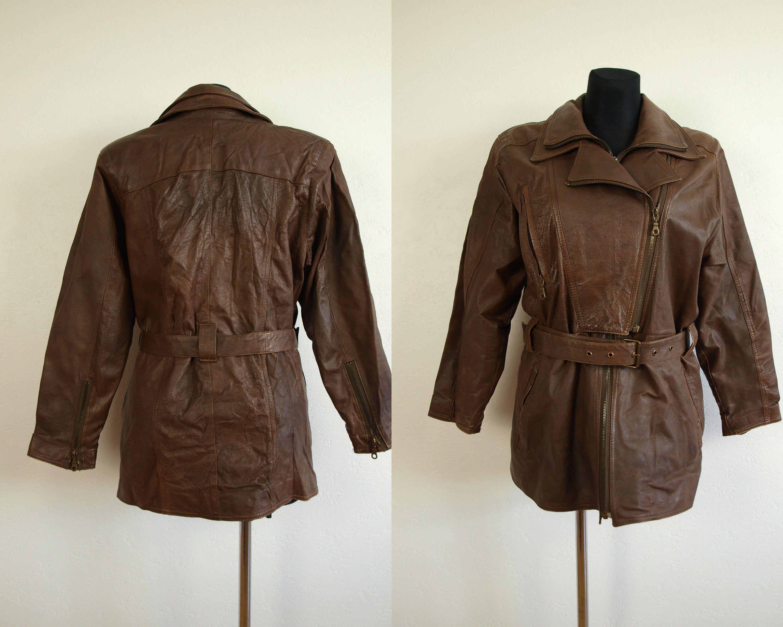 917c10b2f Vintage leather coat Brown Leather jacket womens jacket size XL Eur ...