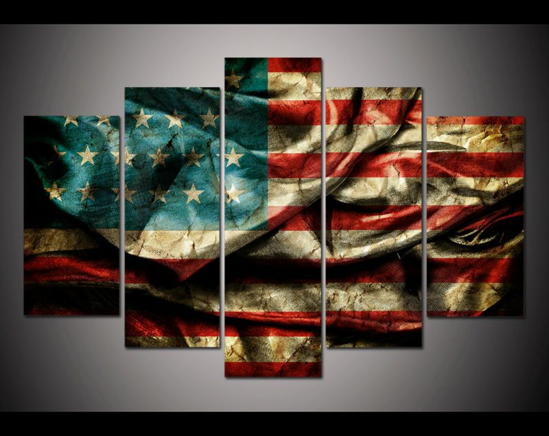 5 Panel Large Poster HD Printed Painting Retro American Flag Canvas Print Art Home Decor Wall Pictures For Living Room