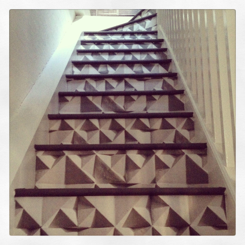 Geo Wallpaper On My Studio Staircase Elladoran Stairs Geo