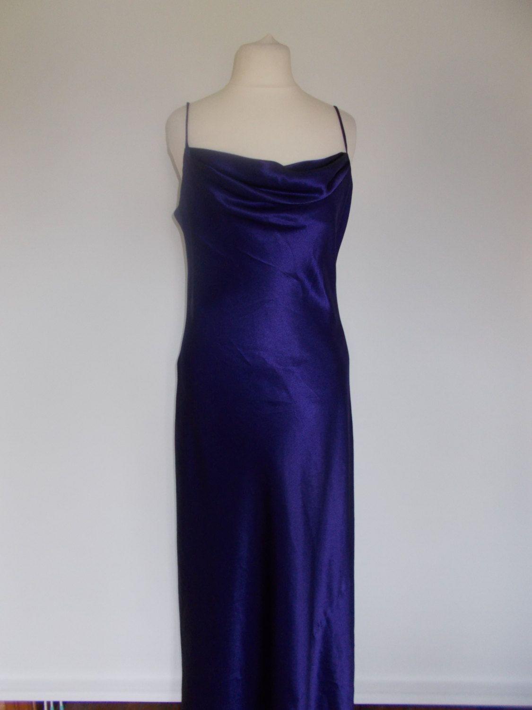fd1af6549e2 Vintage 90s purple satin cowl neck evening maxi dress size small by  BidandBertVintage on Etsy