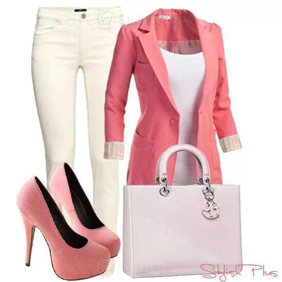 Office wear: pink/peach/casual.