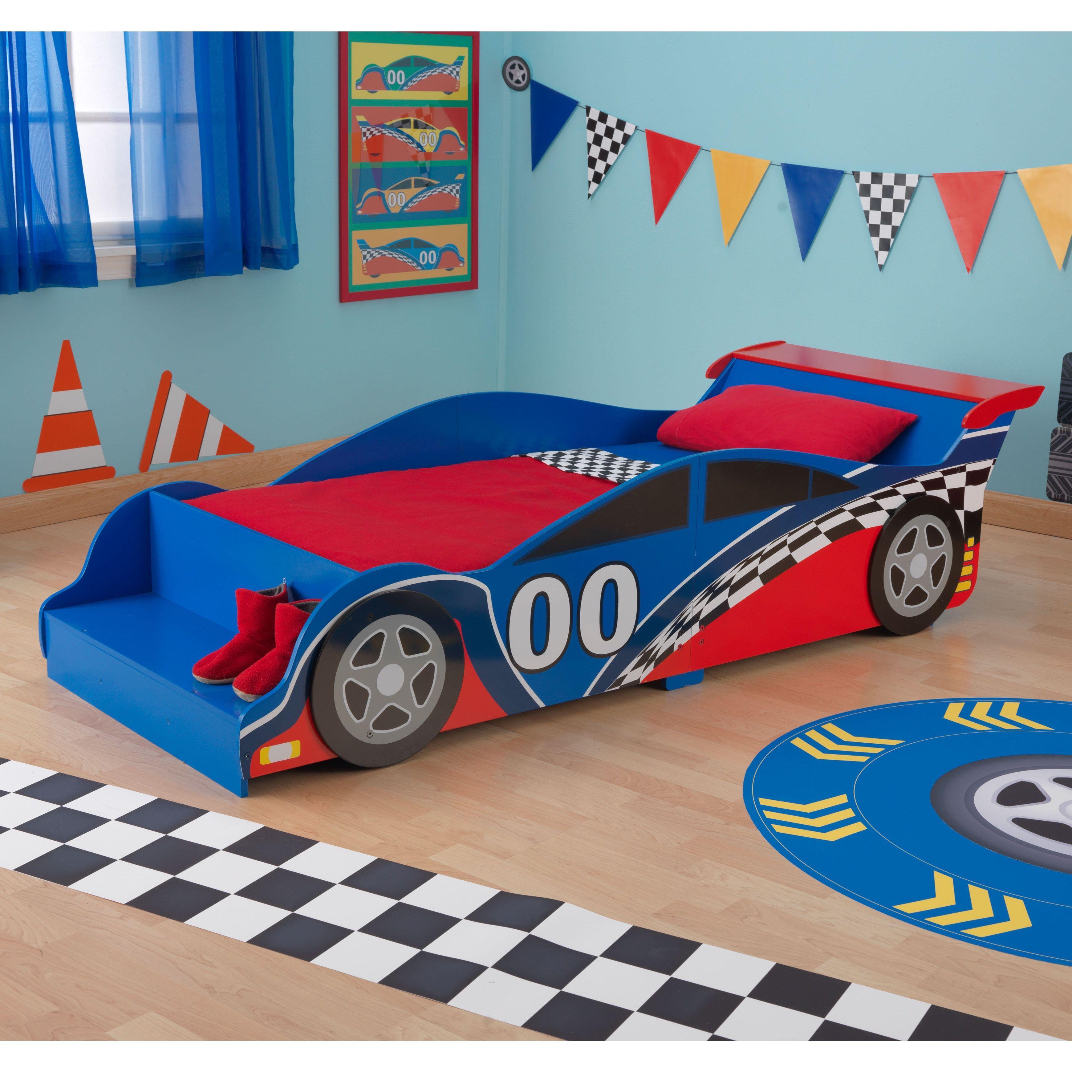 KidKraft Race Car Toddler Bed (Racecar Toddler Bed), Red