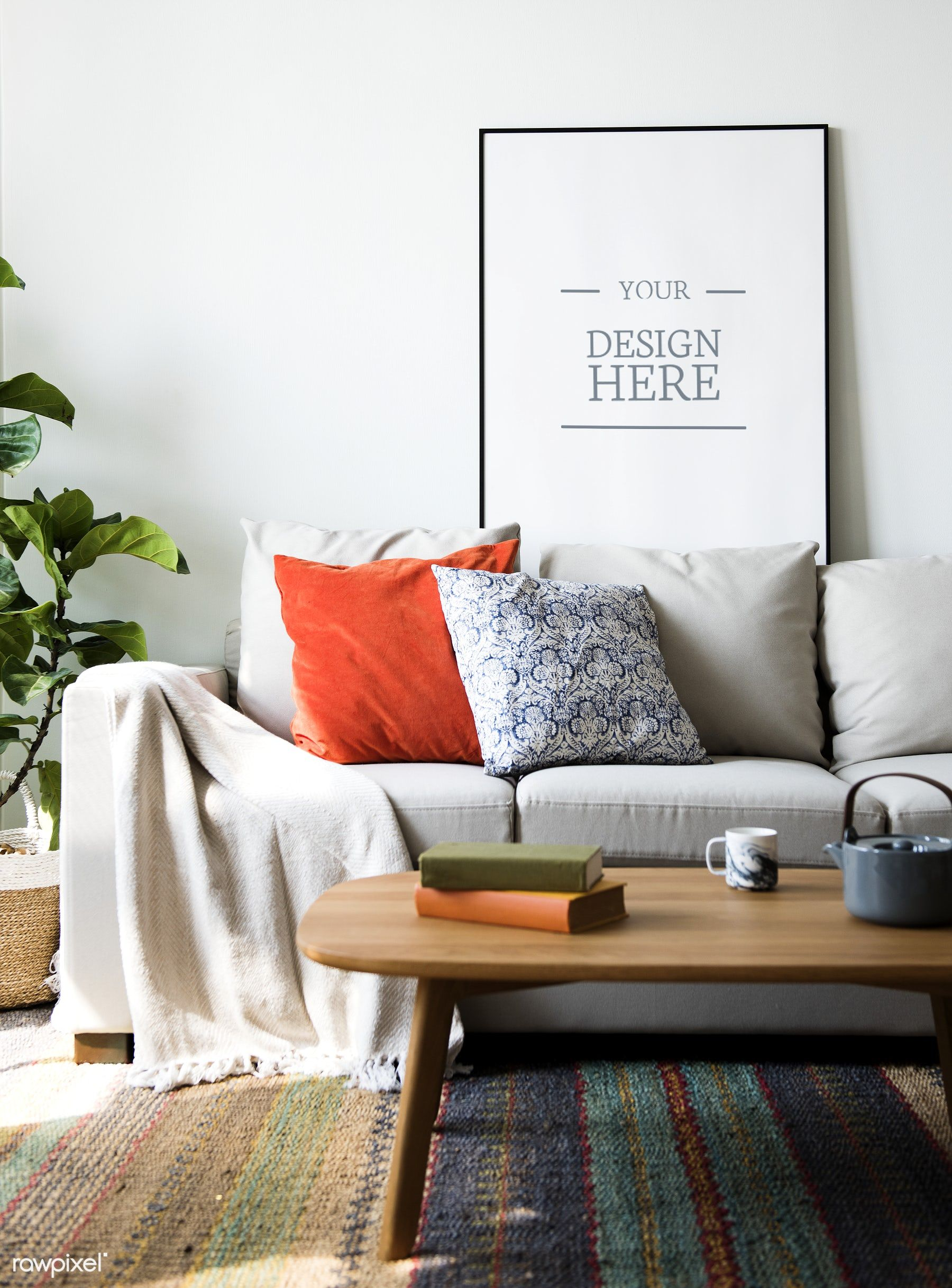 Download Premium Psd Of Living Room With Wall Frame Mockup 296885