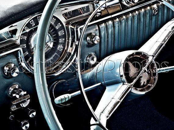 Oldsmobile 88 photograph 1955 Olds dashboard Instant download photo automobile photography vintage steering wheel dash classic car art