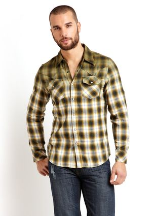 Olive Gradient Plaid Shirt from X-Ray Jeans