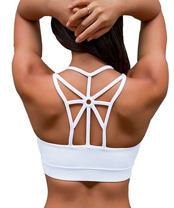 YIANNA Womens Padded Sports Bra Cross Back High Impact Workout Running Yoga Bra