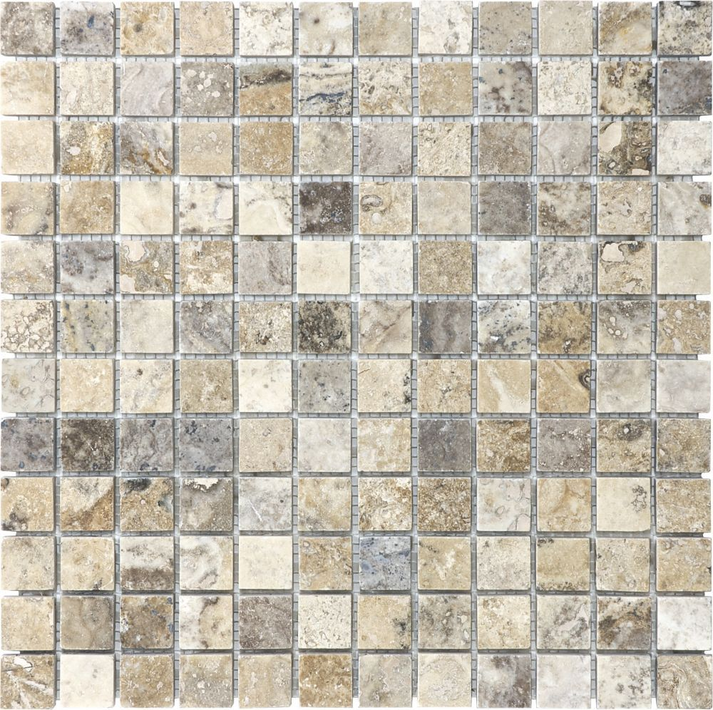 1 inch x 1 inch filled and honed picasso mosaic tile bathroom for shower floor silver tumbled travertine mosaic floor or wall tile x dailygadgetfo Images