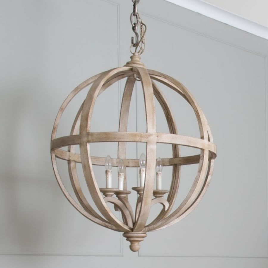 Extra Large Round Wooden Orb 4 Light Chandelier Wooden Orb