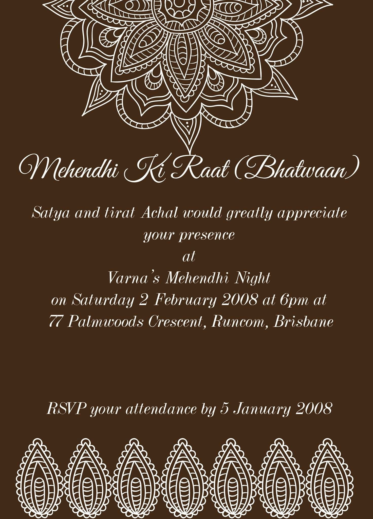 Pin by Invite Online on Mehndi Invitations / Wording Samples ...