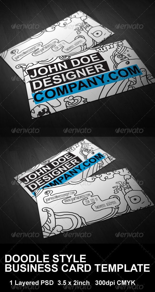 Print Templates - Doodle Style Business Card Template