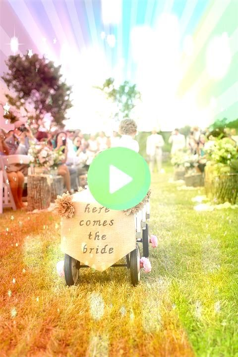 wedding party participants too young to walk down the aisle enlist the help of the ring bearer to pull them in a rustic wagon 198299189829104747For any wedding party part...