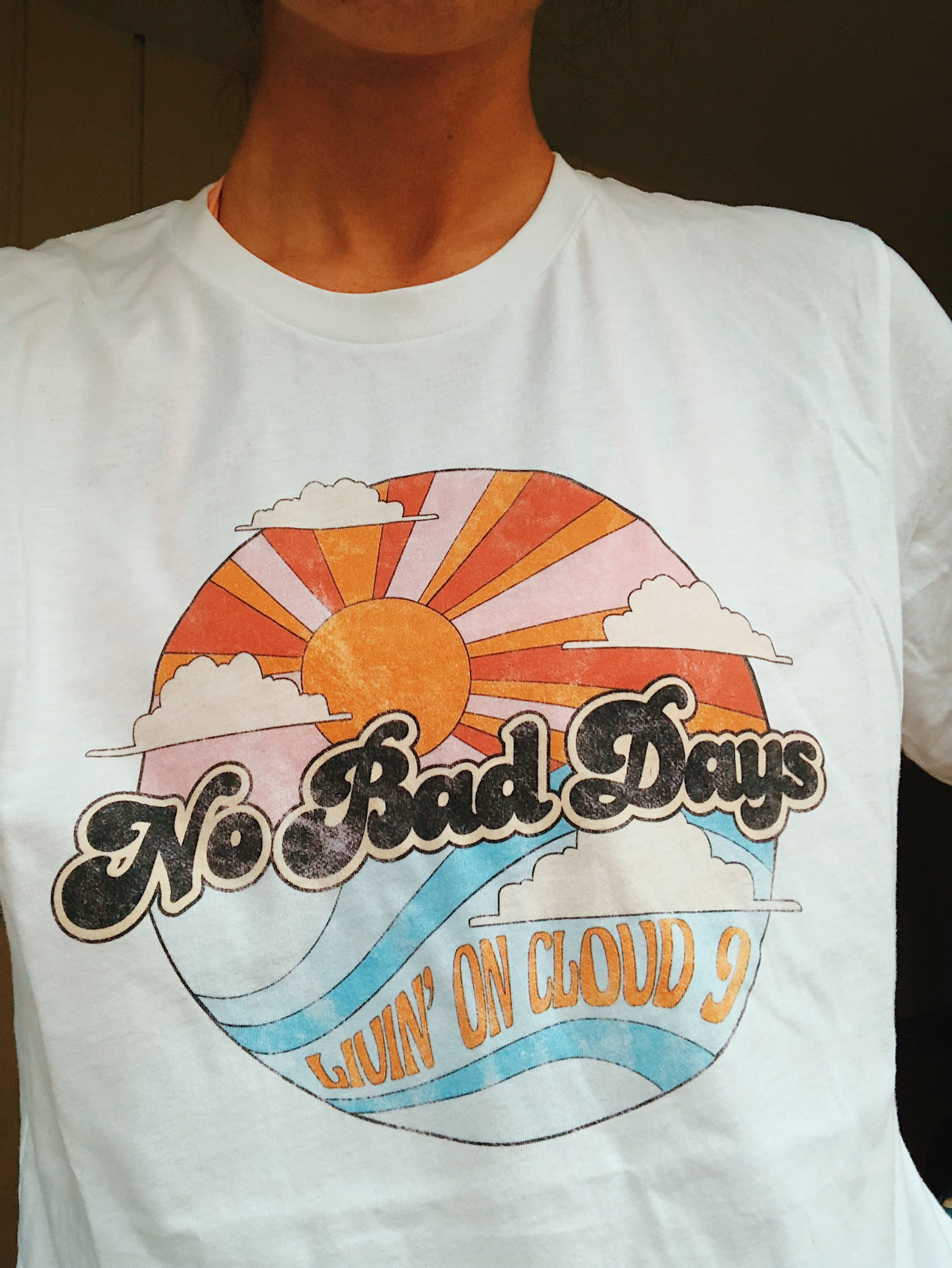 0e4b6bb8 No bad days! With perfectly distressed, worn-in graphics, these tees have a  vintage t-shirt look and feel. #graphictee #vintagetee #goodvibes