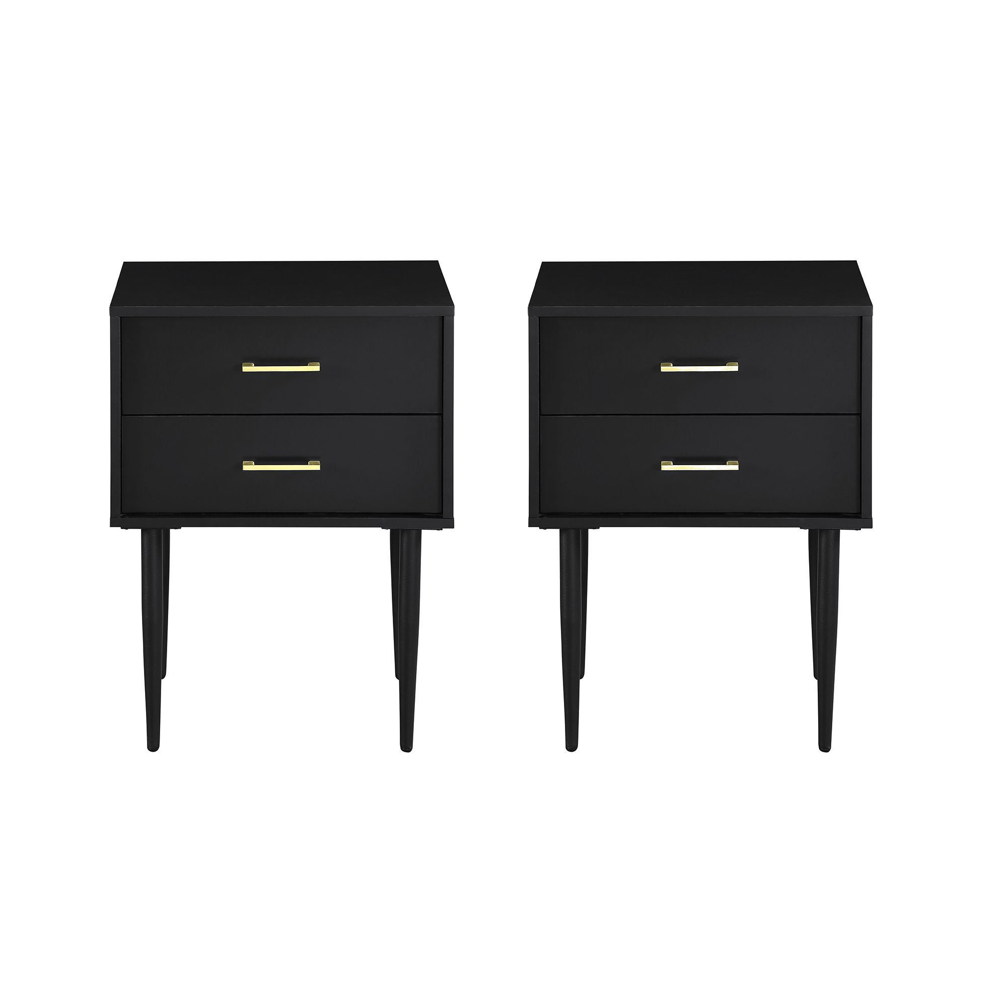 Mid Century Modern Black Two Drawer End Table By Manor Park Set Of 2 Walmart Com In 2020 Bedroom Night Stands Nightstand Modern Side Table