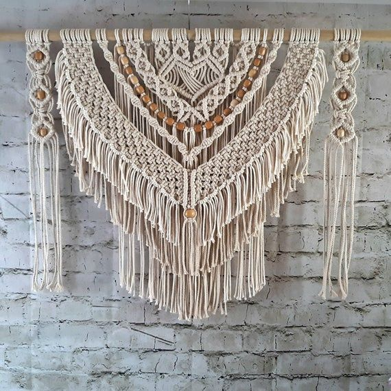Macrame Wall Hanging for Your Home Decor, Large Fiber Art Knotted Tapestry, Beautiful Bedroom Art, Rustic Farmhouse Decoration, Valance