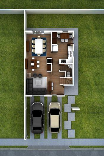 Fachadas de casas 8 metros planos pinterest casas for Plantas arquitectonicas de casas