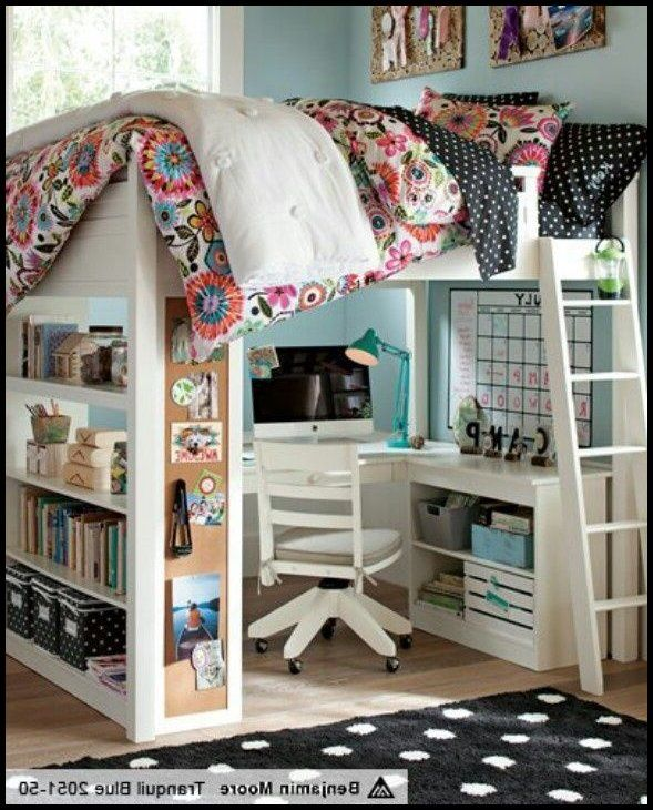 Bedroom:Full Size Loft Bed With Desk Also Shelves With Futon Chair