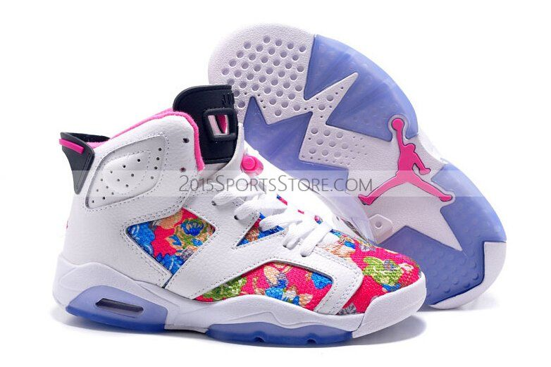 2015 Spring Latest Nike Air Jordan 6 Flower Womens Shoes White Pink Blue  Sneakers Outlet New Releases