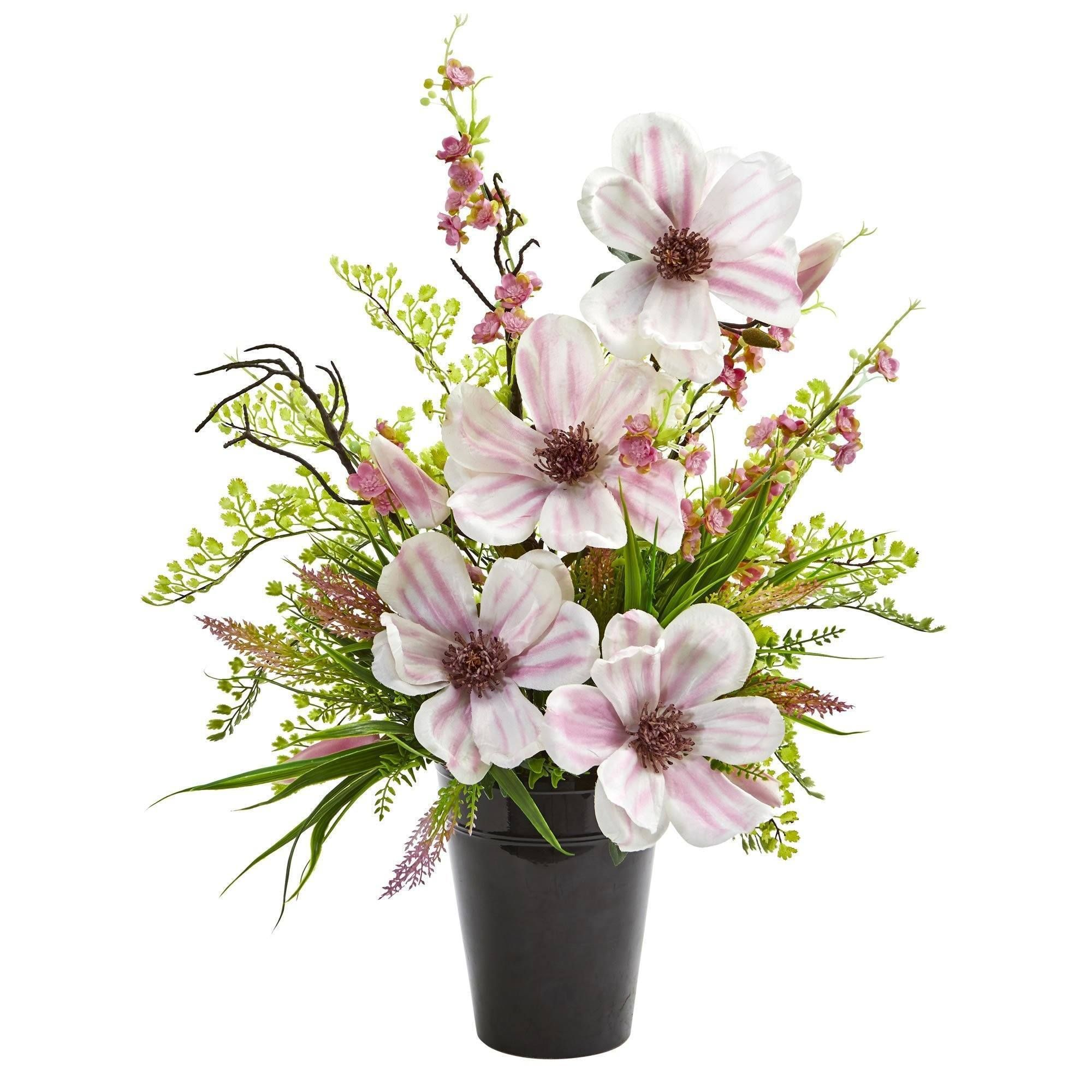 Magnolias Cherry Blossom Artificial Arrangement In 2021 Hydrangea Arrangements Cherry Blossom Flowers Floral Arrangements