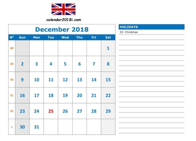 December Calendar 2018 Template December 2018 Calendar Calendar