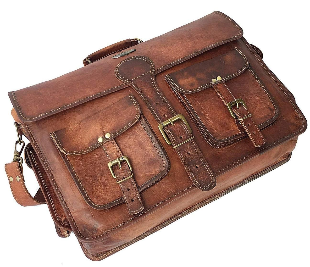 18 Inch Leather Messenger Bag  Vintage Handmade for Briefcase  Laptop  Best Computer Satchel School