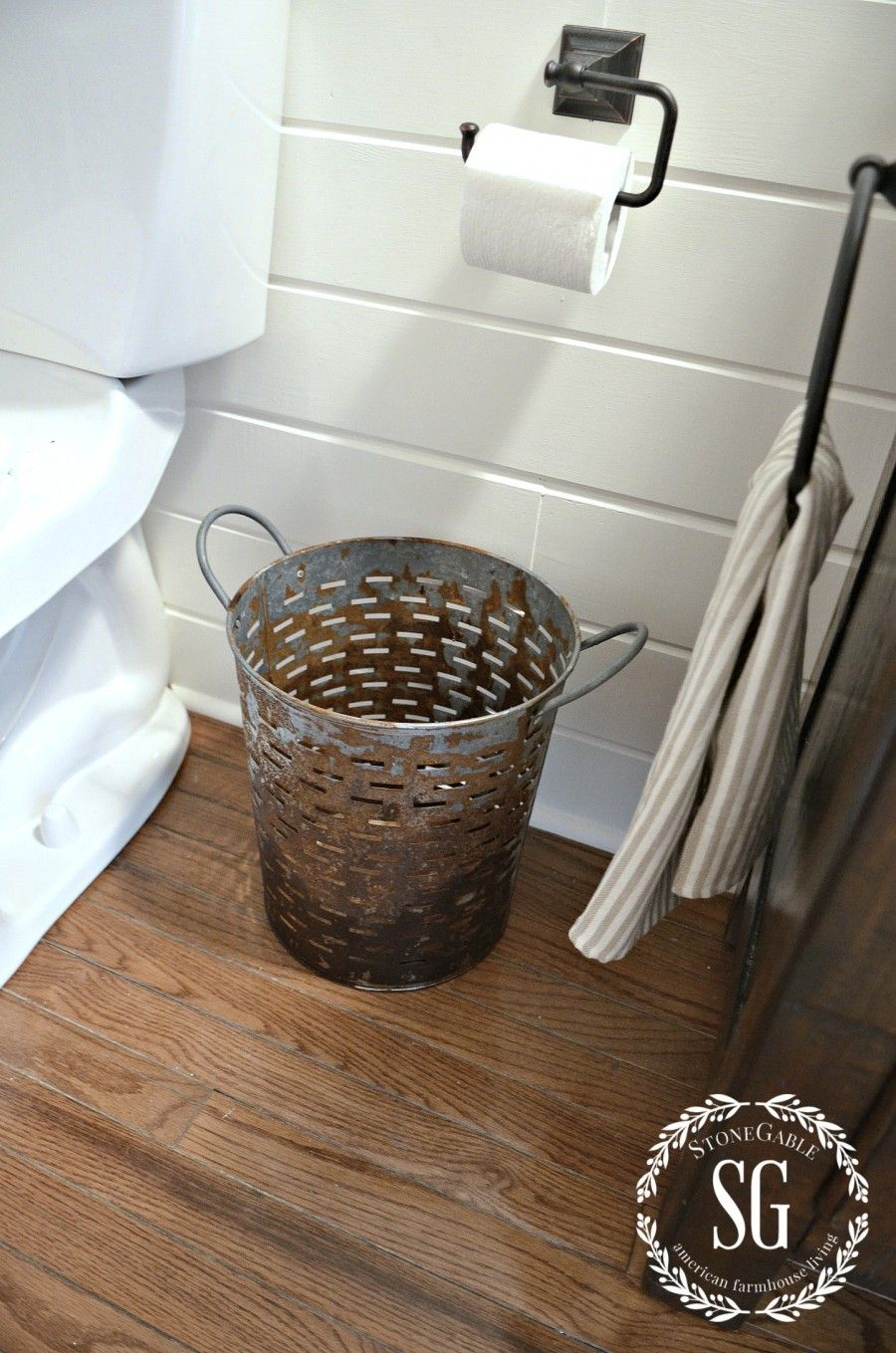 Small Bathroom Garbage Cans farmhouse powder room reveal | powder room, buckets and room