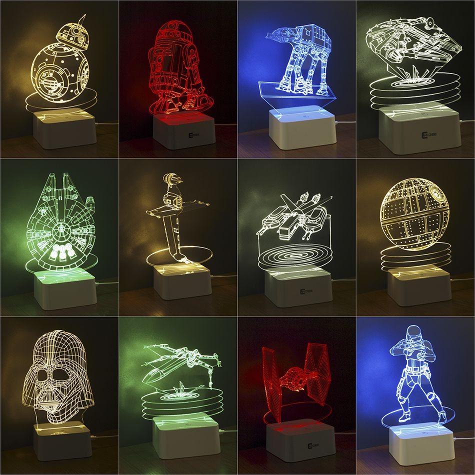 Star Wars Lamp 3D Visual Led Night Lights for Kids Robot R2-D2 Touch ...
