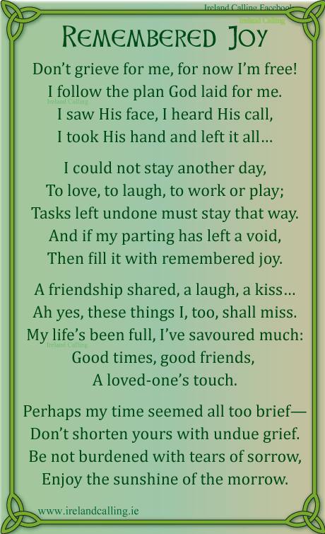 Irish Poem For Mom : irish, Irish
