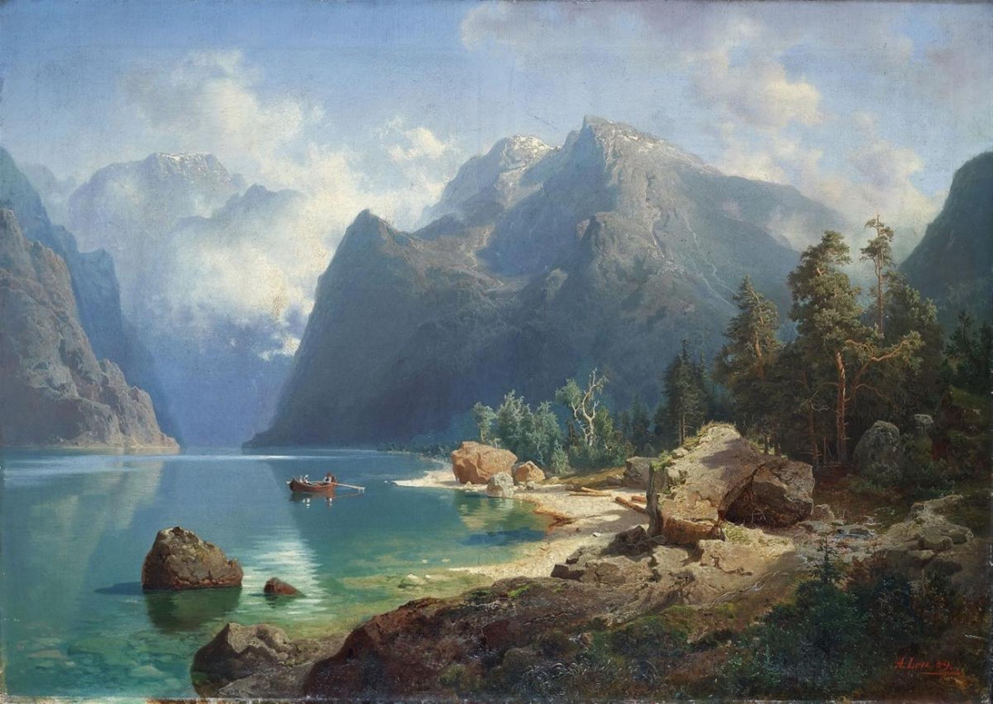 August Wilhelm Leu Norwegian Fjord Landscape Auction 939
