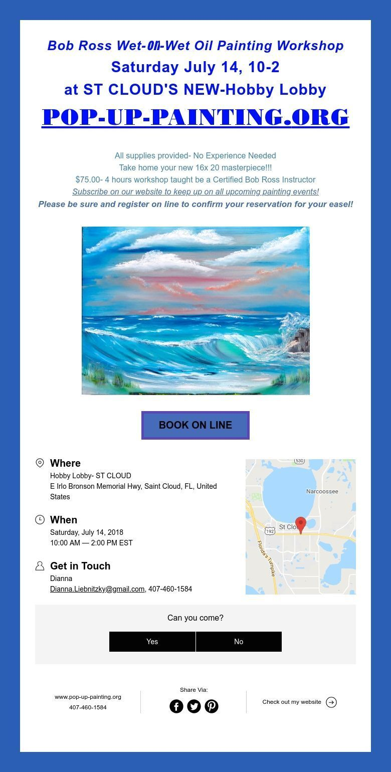 Bob Ross Wet On Wet Oil Painting Workshop Saturday July 14 10 2 At