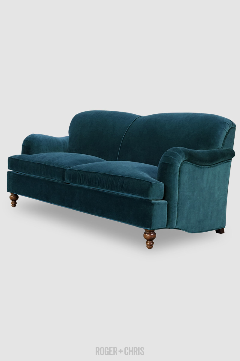 Basel Our Tight Back English Roll Arm In Armchair And Sofa Configurations The Tight Back English Roll Arm Brings Posh In 2020 Blue Fabric Sofa Blue Sofa Rolled Arms