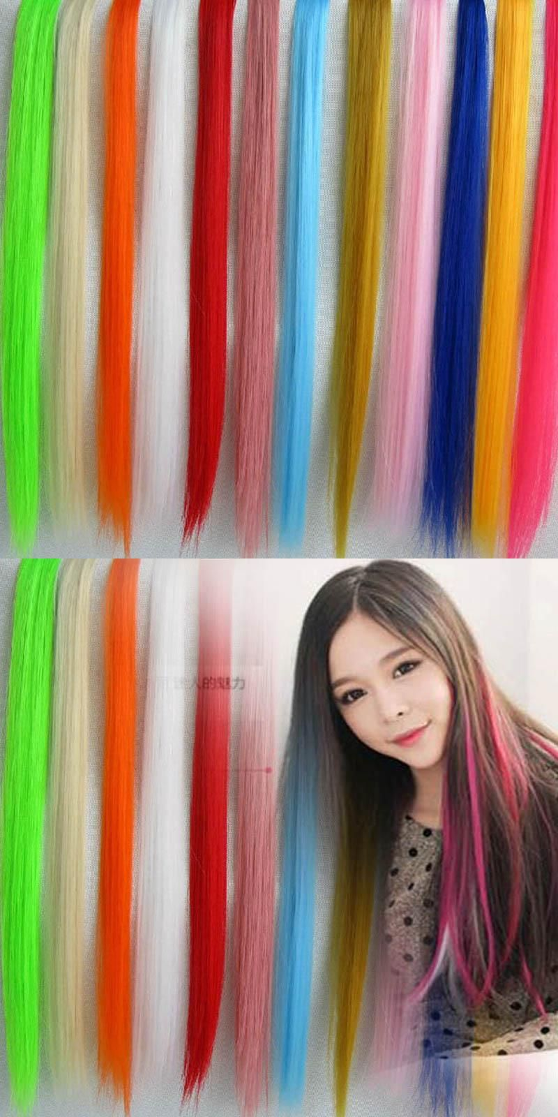 50cm Clip In Human Hair Extensions Synthetic Hair Color Clip One