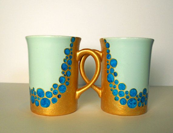 2 Hand Painted Mugs In Mint Green Turquoise And Gold Hand Painted Mugs Painted Mugs Pottery Designs