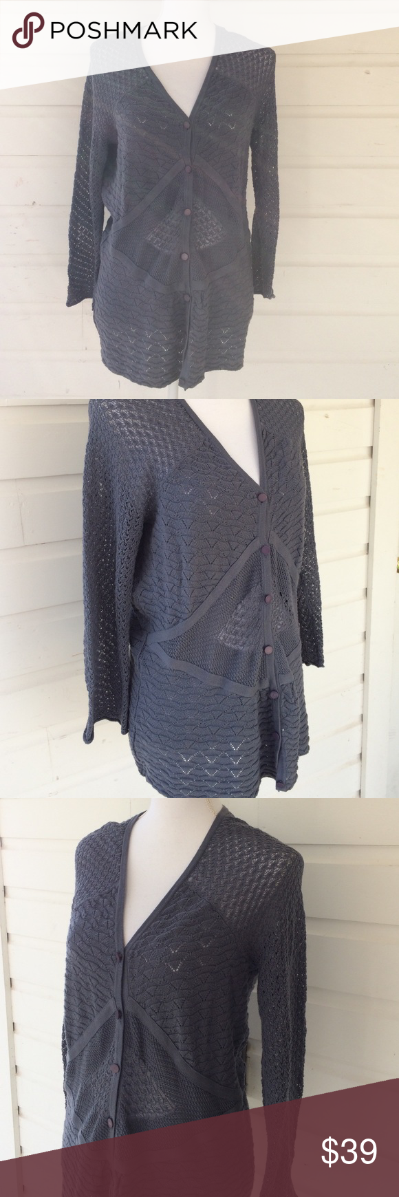 Anthro Heather B Mixed Knit Cardigan | Cotton crochet, Blue grey ...