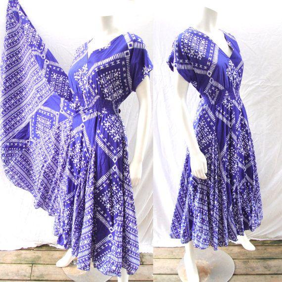 Vintage dress1970s India cotton vestido by by BornToShopVintage, $59.00