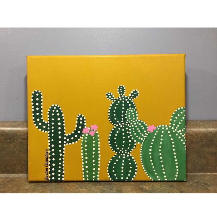 Cactus painting on canvas (3 canvas painting ideas artworks