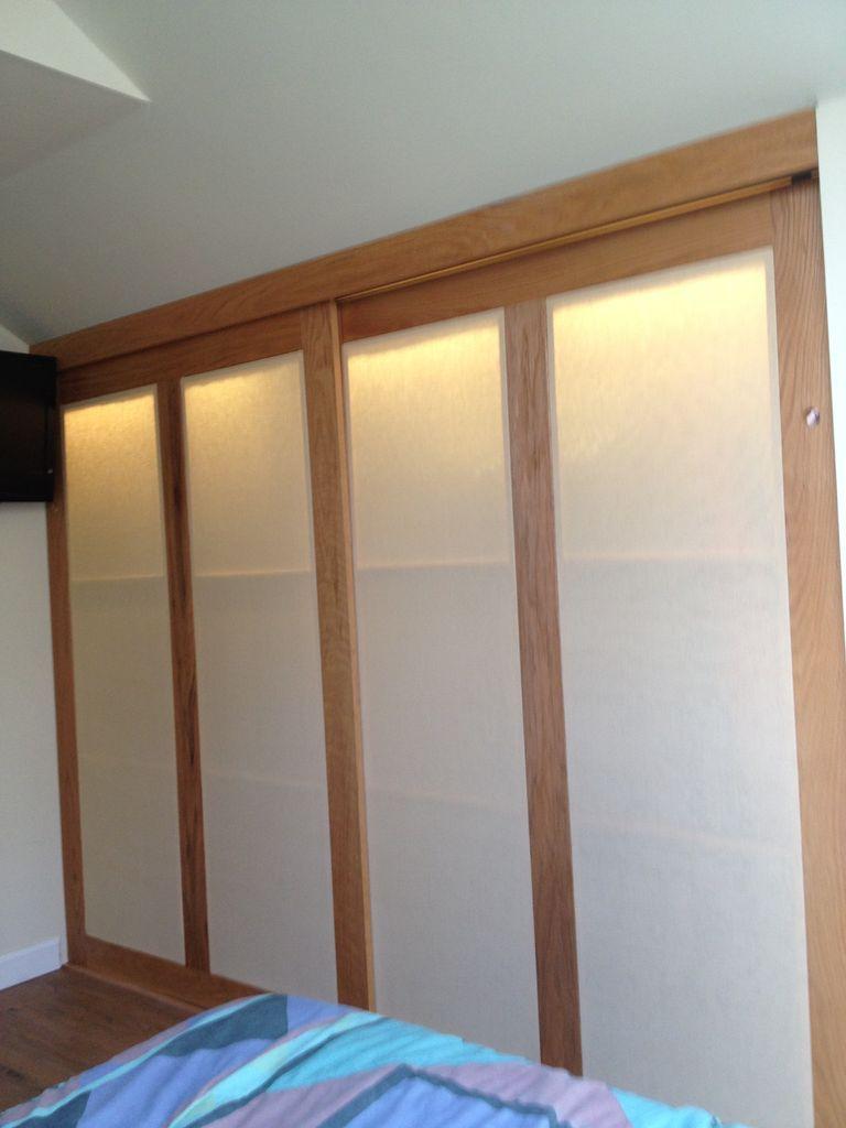 Lighting Basement Washroom Stairs: Cheap Finished Crawl Space Closet With Oak Sliding Doors