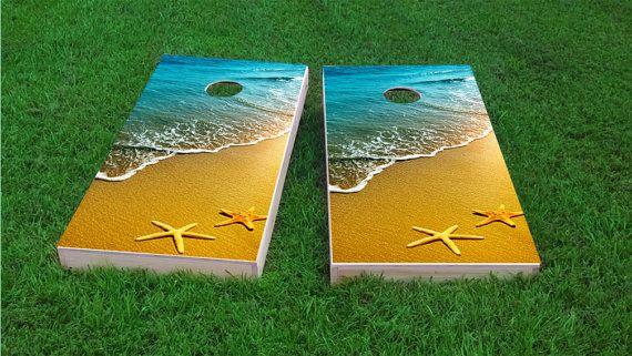 Custom Corn Hole Bean Bag Toss Corn Toss Beach Sunset Themed 2x4 Custom Cornhole Board Set with bags Bag Toss