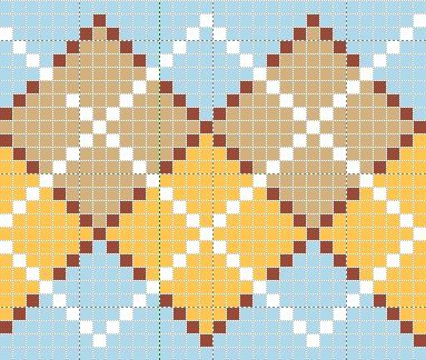 Argyle chart--1 stitch each point with gap of one at each point ...